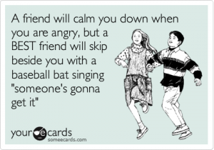 Friends sing with a baseball bat
