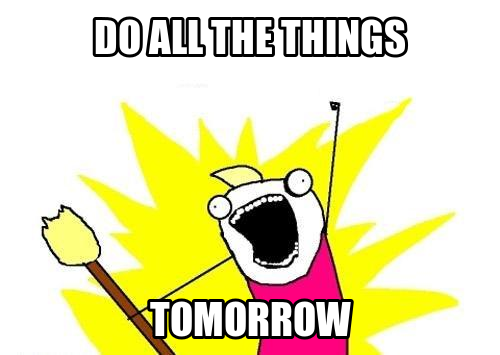 all the things procrastination meme